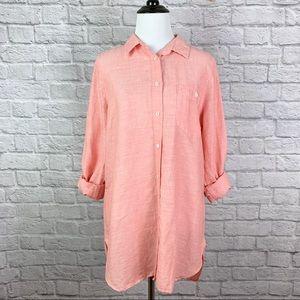 J. Crew Linen Button Down Shirt size 8 Peach Pink
